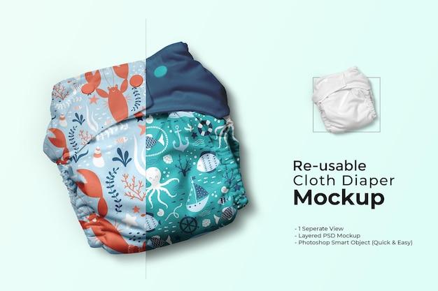 Maqueta de pañal de tela reutilizable