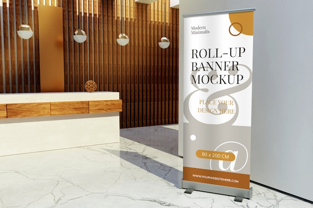 Maqueta de pancarta de pie enrollable frente al mostrador de recepción