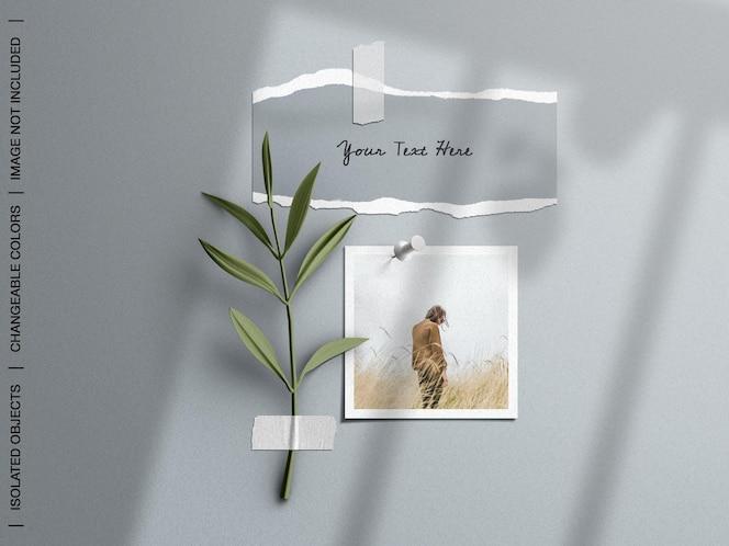 Maqueta de panel de estado de ánimo de pared con collage de tarjeta de marco de foto roto con cinta