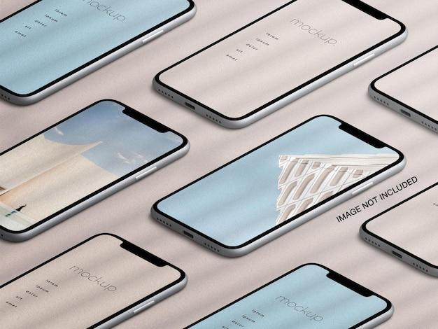 Maqueta de pantalla de aplicación de dispositivos de teléfono inteligente isométrica