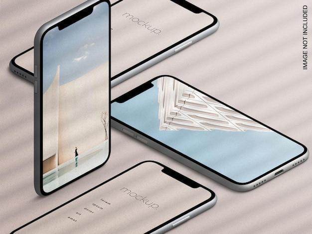 Maqueta de la pantalla de la aplicación de dispositivos de teléfonos inteligentes isométricos