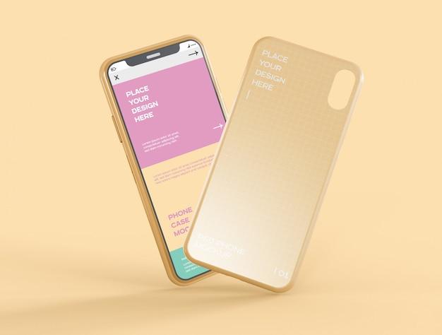Maqueta de pantalla de caso y teléfono inteligente