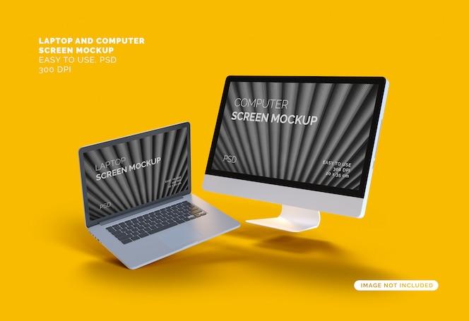 Maqueta de pantalla de computadora y computadora portátil voladora
