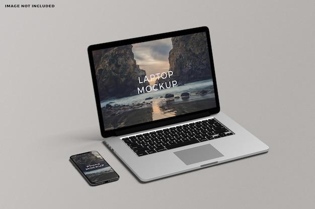 Maqueta de pantalla de dispositivo portátil y teléfono inteligente