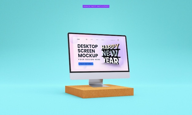 Maqueta de pantalla de escritorio de vista lateral premium