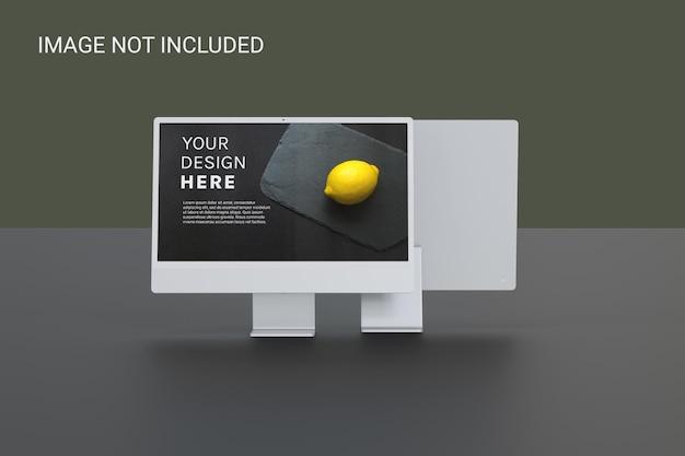 Maqueta de pantalla de monitor en la parte posterior y frontal