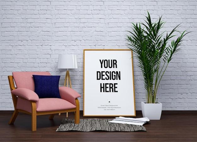 Maqueta de pantalla de pared y marco con muebles.