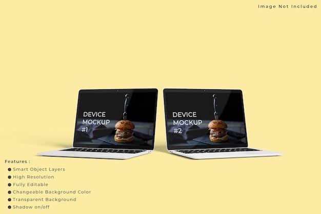Maqueta de pantalla de portátil minimalista con fondo de color pastel