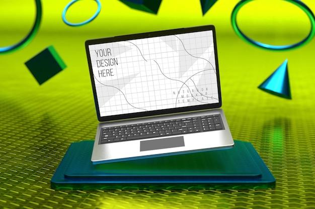 Maqueta de pantalla de portátil sobre pedestal cuadrado con fondo de formas geométricas 3d