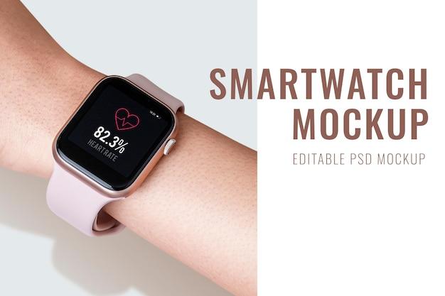 Maqueta de pantalla de reloj inteligente, dispositivo digital psd en una muñeca