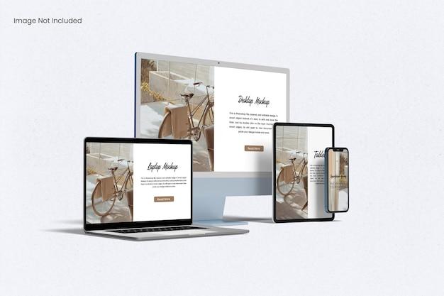 Maqueta de pantalla de sitio web sensible a múltiples dispositivos