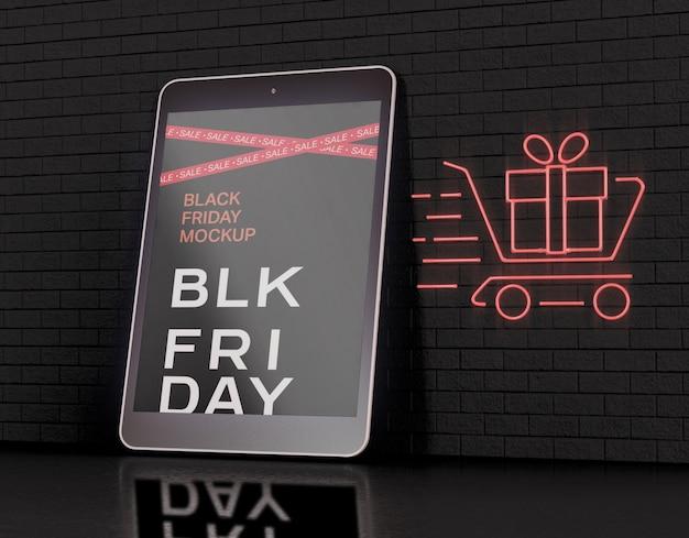 Maqueta de pantalla de tableta. concepto de viernes negro