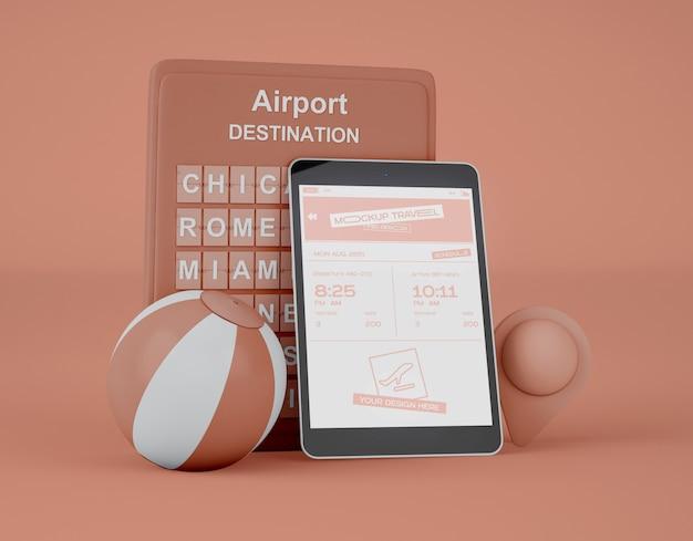 Maqueta de pantalla tableta digital. viaje de verano y concepto de viaje.