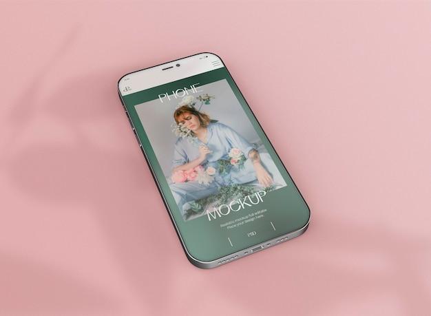 Maqueta de pantalla de teléfono inteligente 3d. imagen no incluida