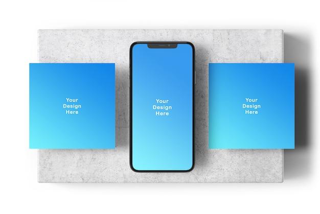 Maqueta de pantalla del teléfono y pancartas cuadradas
