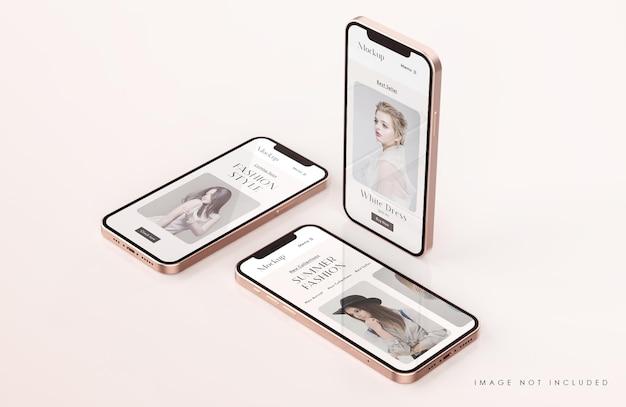 Maqueta de pantalla de teléfono roja y dorada con plantilla de presentación de aplicación móvil