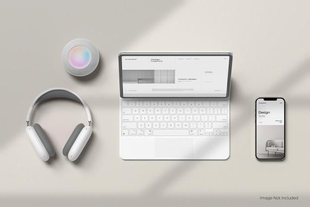 Maqueta de pantalla y teléfono de tableta