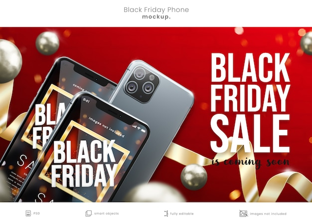 Maqueta de pantalla de teléfono de viernes negro con cintas