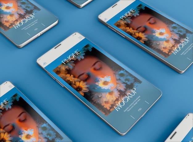 Maqueta de pantalla de teléfonos inteligentes 3d. imagen no incluida