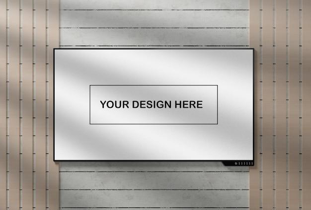 Maqueta de pantalla de tv realista en la pared