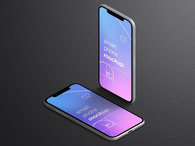 Maqueta de pantallas de aplicaciones de teléfonos inteligentes isométricas aisladas realistas