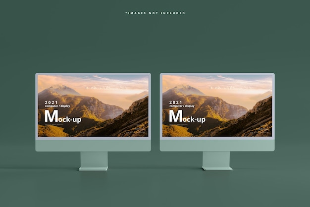 Maqueta de pantallas de computadora de escritorio