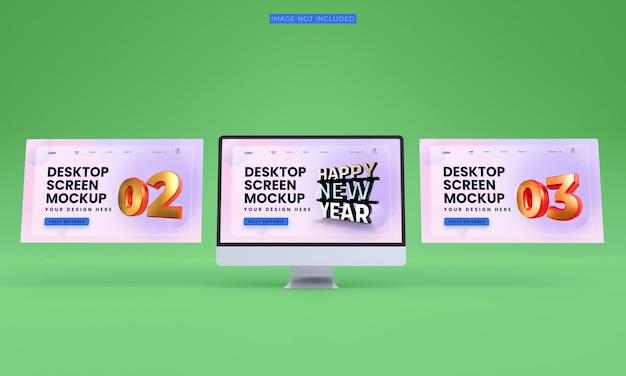 Maqueta de pantallas de escritorio premium psd front view