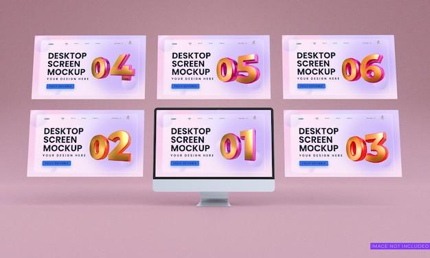Maqueta de pantallas de escritorio de vista frontal psd premium