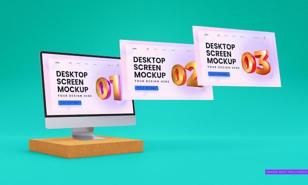 Maqueta de pantallas de escritorio de vista lateral psd premium