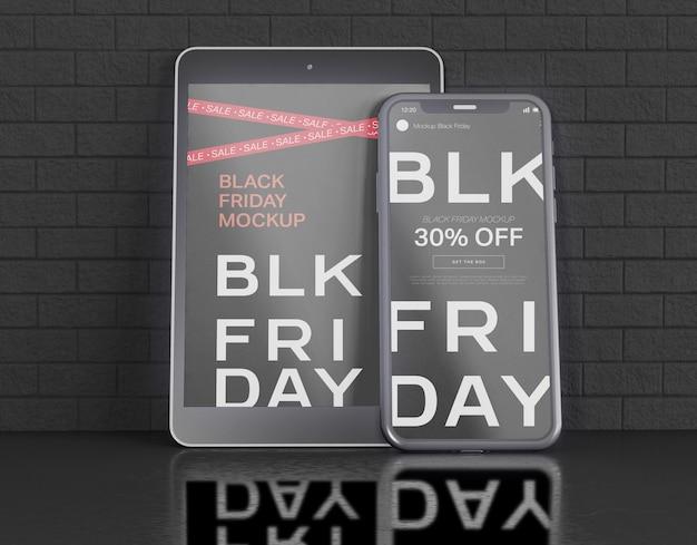 Maqueta de pantallas de teléfonos inteligentes y tabletas digitales. concepto de viernes negro
