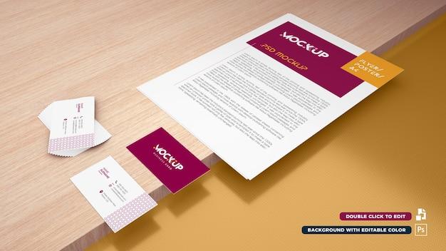 Maqueta de papel 3d a4 y tarjeta de visita