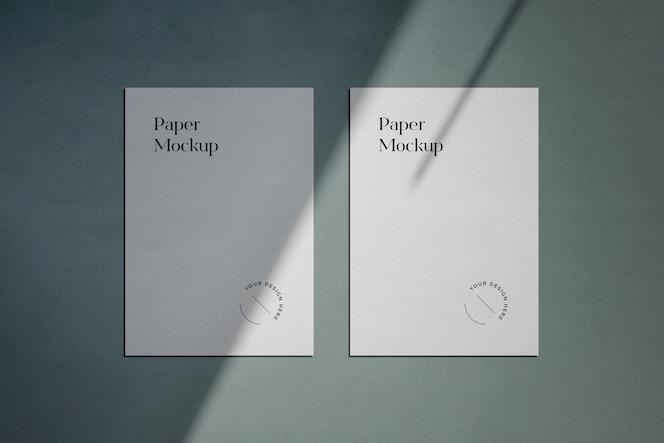 Maqueta de papel a4 con superposición de sombras
