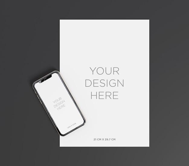 Maqueta de papel a4 con vista superior del teléfono inteligente