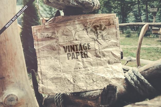Maqueta de papel artesanal vintage