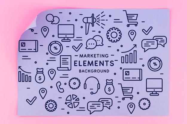Maqueta de papel de geometría con elementos de marketing.
