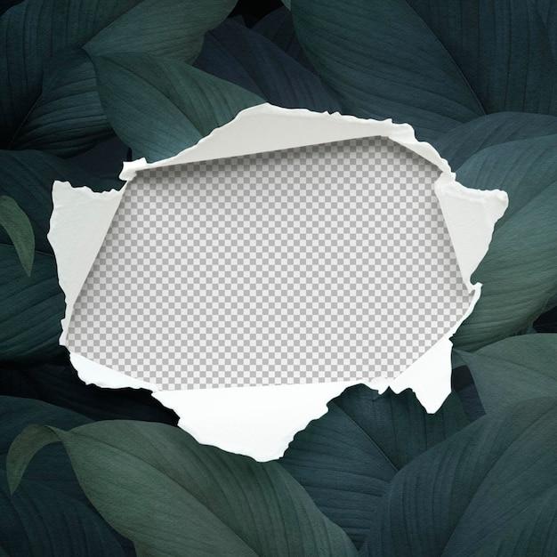 Maqueta de papel rasgado sobre un fondo frondoso