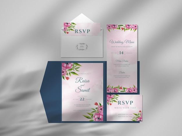 Maqueta de papel de tarjeta de visita de acuarela dibujada a mano floral moderna con superposición de sombras