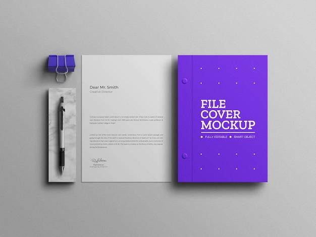 Maqueta de papelería azul mínima