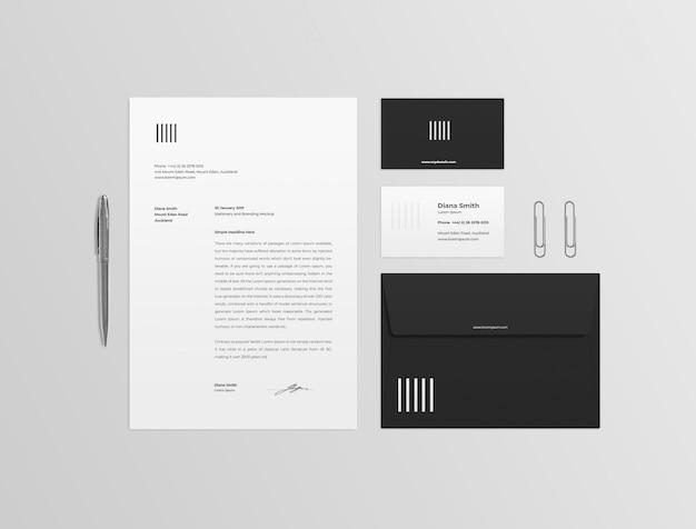 Maqueta de papelería en blanco y negro