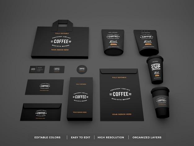 Maqueta de papelería e identidad de marca de café realista