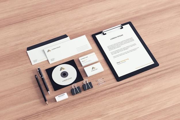 Maqueta de papelería de empresa realista