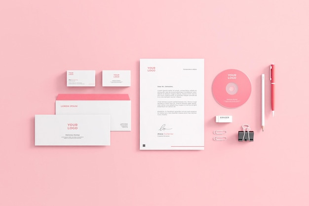 Maqueta de papelería de empresa rosa femenina realista