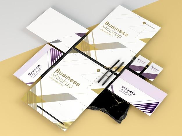 Maqueta de papelería empresarial copia espacio vista alta