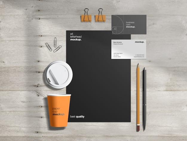 Maqueta de papelería de identidad corporativa profesional moderna con membrete, tarjetas de visita y taza de café de papel