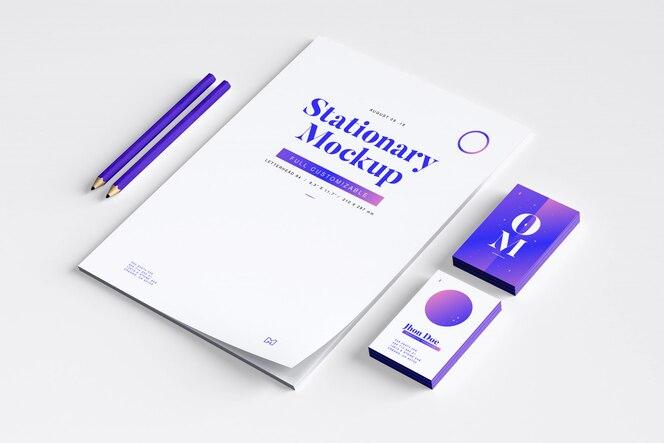 Maqueta de papelería isométrica con lápices
