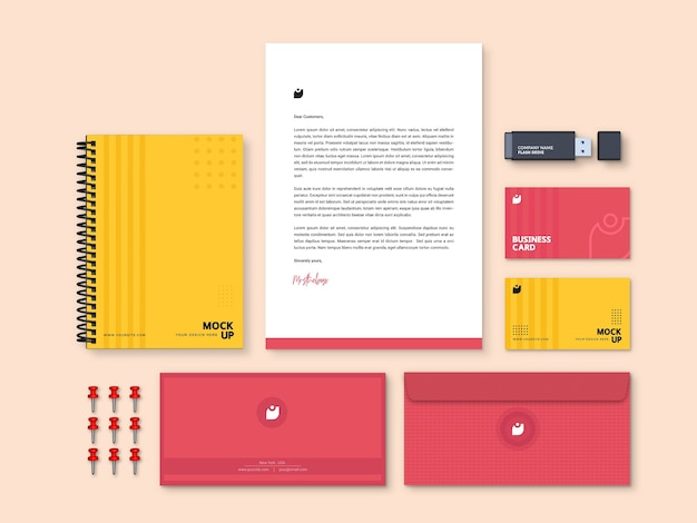 Maqueta de papelería de marca moderna editable de alta calidad