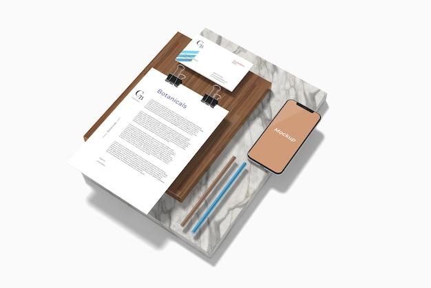 Maqueta de papelería mínima