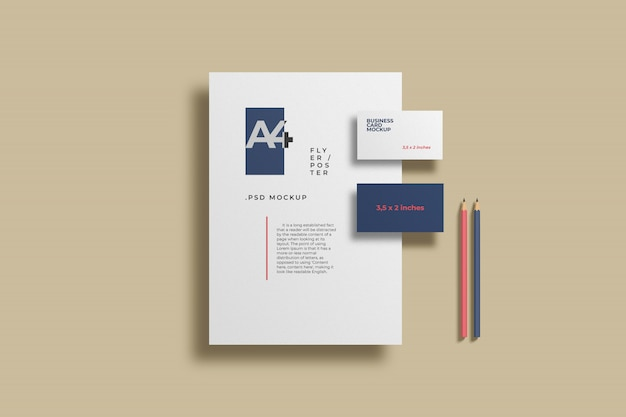 Maqueta de papelería minimalista