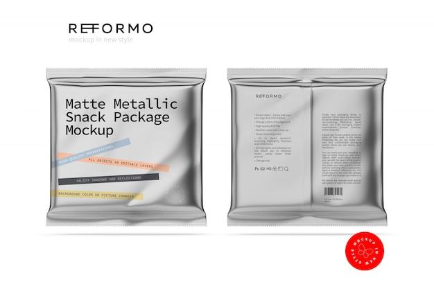Maqueta de paquete de merienda metálica mate