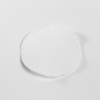Maqueta de parche de ropa de tela blanca